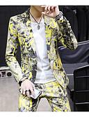 זול חליפות-אפור / צהוב / כחול סקיי מעוטר גזרה מחוייטת פוליאסטר חליפה - פתוח Single Breasted One-button