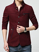 abordables Camisas de Hombre-Hombre Diario Básico Invierno Largo Chaqueta, Un Color Escote Chino Manga Larga Poliéster Azul Piscina / Wine XL / XXL / XXXL