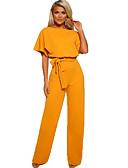 זול סרבלים ואוברולים לנשים-XL XXL XXXL פפיון אחיד, סרבלים רגל רחבה בז' כחול נייבי צהוב בסיסי / מתוחכם בגדי ריקוד נשים