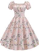 billige Romantiske blonder-Dame Vintage A-linje Kjole - Blomstret, Lapper Trykt mønster Knelang