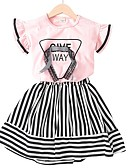 cheap Girls' Tops-Kids Girls' Basic Striped Short Sleeve Cotton Clothing Set White