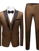 זול טוקסידו-אפור / נייבי כהה / כחול ים אחיד גזרה צרה פוליאסטר חליפה - סגור Single Breasted One-button