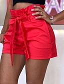 זול שורטים-בגדי ריקוד נשים בסיסי מידות גדולות רזה שורטים מכנסיים - אחיד פפיון / קפלים פול אודם צהוב XXXL XXXXL XXXXXL