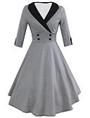 povoljno Vintage kraljica-Žene Vintage Swing kroj Haljina Houndstooth Midi