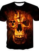billige T-shirt-Rund hals Herre - Farveblok Plusstørrelser T-shirt Sort