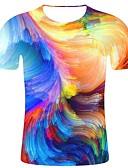 זול טישרטים לגופיות לגברים-גיאומטרי / 3D / גראפי צווארון עגול מידות גדולות כותנה, טישרט - בגדי ריקוד גברים דפוס קשת