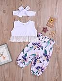 זול שמלות לתינוקות-סט של בגדים כותנה ללא שרוולים פרנזים / דפוס דפוס בוהו / סגנון רחוב בנות תִינוֹק / פעוטות