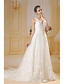 baratos Vestidos de Casamento-Linha A Decote V Cauda Corte Tule / Paetês Vestidos de casamento feitos à medida com Miçangas / Drapeado Lateral de ANGELAG