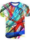 hesapli Erkek Tişörtleri ve Atletleri-Erkek Yuvarlak Yaka Tişört Desen, Zıt Renkli / 3D / Grafik Büyük Bedenler Gökküşağı XXXXL