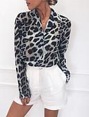 hesapli Bluz-Kadın's Pamuklu Gömlek Yaka Bluz Kırk Yama, Leopar Sokak Şıklığı Siyah ve Beyaz / Siyah gri Açık Kahverengi