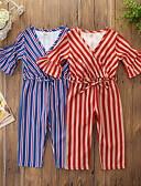 זול חלקים תחתונים לתינוקות-אוברול וסרבל כותנה קפלים / שרוכים לכל האורך / דפוס פסים פעיל / בסיסי בנות ילדים / פעוטות