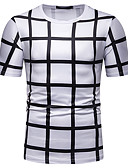 cheap Men's Tees & Tank Tops-Men's EU / US Size Cotton T-shirt - Color Block / Houndstooth / Graphic Patchwork / Print Round Neck White L