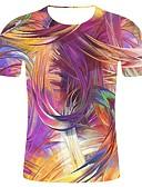 זול שעונים-גיאומטרי / 3D / גראפי צווארון עגול הצהרה / 3D מעוקם מידות גדולות כותנה, טישרט - בגדי ריקוד גברים דפוס קשת