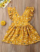 זול שמלות לתינוקות-שמלה כותנה עד הברך ללא שרוולים קפלים פרחוני בוהו בנות תִינוֹק / פעוטות