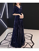זול שמלות ערב-גזרת A צווארון V עד הריצפה נצנצים שמלה עם נצנצים על ידי LAN TING Express
