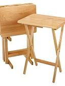 זול שולחנות מתקפלים-סט של 4 - קיפול שולחן מגש שולחן להגדיר עם לעמוד בגימור עץ טבעי
