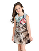povoljno Haljine za djevojčice-Djeca Djevojčice slatko Slatka Style Životinja Kratkih rukava Iznad koljena Haljina Plava / Pamuk