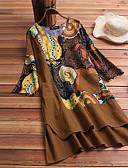 זול שמלות מודפסות-מעל הברך דפוס, גיאומטרי קולור בלוק - שמלה שיפון בוהו מתוחכם בגדי ריקוד נשים