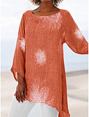 hesapli Gömlek-Kadın's Salaş - Tişört Geometrik Büyük Bedenler YAKUT