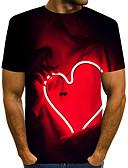 """זול טישרטים לגופיות לגברים-קולור בלוק / 3D / גראפי צווארון עגול סגנון רחוב / מוּגזָם מועדונים האיחוד האירופי / ארה""""ב גודל טישרט - בגדי ריקוד גברים דפוס שחור / שרוולים קצרים"""