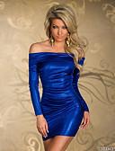お買い得  レディースドレス-女性用 ストリートファッション モダンシティ スリム ボディコン ドレス - フリル, ソリッド 膝上 オフショルダー