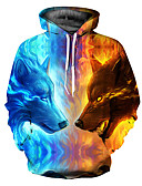 זול טרנינגים וקפוצ'ונים לגברים-עם קפוצ'ון 3D Jacket hoodie משוחרר בסיסי בגדי ריקוד גברים