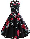 halpa Vintage-kuningatar-Naisten Vintage A-linja Mekko - Kukka, Avoin selkä Patchwork Painettu Polvipituinen