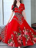 hesapli Print Dresses-Kadın's Çan Elbise - Çiçekli Maksi