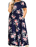 hesapli Kadın Elbiseleri-Kadın's Sokak Şıklığı Şifon Elbise - Zıt Renkli, Desen Maksi