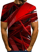 cheap Men's Tees & Tank Tops-Men's Daily Wear Club Street chic / Exaggerated T-shirt - Color Block / 3D / Graphic Print Red US40
