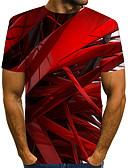 voordelige Heren T-shirts & tanktops-Heren Street chic / overdreven Print T-shirt Kleurenblok / 3D / Grafisch Rood US40