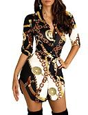 זול שמלות מיני-א-סימטרי דפוס, גיאומטרי קולור בלוק - שמלה חולצה סגנון רחוב אלגנטית בגדי ריקוד נשים