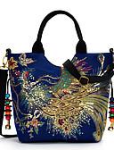 hesapli Print Dresses-Kadın's Nakış Tuval Üstten Saplı Çanta Nakış süslü Havuz / Siyah / YAKUT / Sonbahar Kış