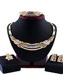 abordables Cinturones de hombres-Mujer Oro Los sistemas nupciales de la joyería Cadena de enlace Ola Vintage Brillante Aretes Joyas Dorado Para Boda Pedida Regalo 1 juego / Pendientes