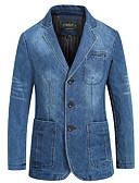 cheap Men's Blazers & Suits-Men's Blazer, Solid Colored Notch Lapel Polyester Blue / Light Blue XXL / XXXL / XXXXL