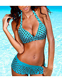povoljno Bikinis-Žene Red Svjetloplav Navy Plava Cheeky gaćice Tankini Kupaći kostimi - Na točkice XL XXL XXXL Red