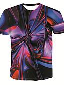 זול טישרטים לגופיות לגברים-3D צווארון עגול בסיסי / סגנון רחוב טישרט - בגדי ריקוד גברים דפוס קשת / שרוולים קצרים