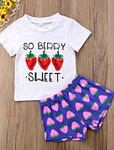 זול סטים של ביגוד לתינוקות-סט של בגדים שרוולים קצרים דפוס / פירות בנות תִינוֹק