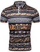 """זול חולצות פולו לגברים-גיאומטרי צווארון חולצה האיחוד האירופי / ארה""""ב גודל Polo - בגדי ריקוד גברים קשת / שרוולים קצרים"""