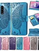 Недорогие Чехлы для телефонов-Кейс для Назначение OnePlus Один плюс 7 / One Plus 7 Pro Кошелек / Бумажник для карт / со стендом Чехол Бабочка / Цветы Мягкий Кожа PU