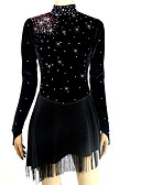 Χαμηλού Κόστους Φόρεμα για παγοδρομία-Φόρεμα για φιγούρες πατινάζ Όλα Patinaj Φορέματα Μαύρο Κύκνος Spandex Υψηλή Ελαστικότητα Ανταγωνισμός Ενδυμασία πατινάζ Μονόχρωμο Κρύσταλλο / Στρας Μακρυμάνικο Πατινάζ Πάγου Πατινάζ για φιγούρες