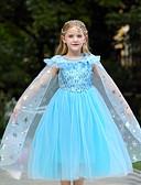 저렴한 어린이 & 어린이-아동 토들러 여아 단 귀여운 스타일 솔리드 스팽글 짧은 소매 미디 면 폴리에스테르 드레스 푸른