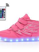 billige Herreskjorter-Drenge / Pige Syntetisk læder Sneakers Lysende Sko Gang LED Blå / Lys pink / Bourgogne Sommer / Efterår / Farveblok / Gummi