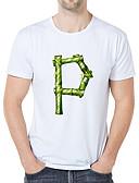 billige T-shirts og undertrøjer til herrer-Herre - Grafisk / Tegneserie / Bogstaver Trykt mønster Vintage / Elegant T-shirt Hvid US42