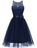 זול שמלות שושבינה-גזרת A עם תכשיטים באורך  הברך טול שמלה לשושבינה  עם פפיון(ים) על ידי LAN TING Express