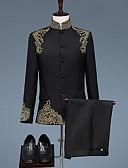 povoljno Odijela-Crn / Obala Patterned Standardni kroj Poliester Odijelo - Mandarin Droit à plusieurs boutons / odijela