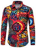זול שמלות מקסי-גיאומטרי בסיסי חולצה - בגדי ריקוד גברים דפוס קשת / שרוול ארוך