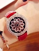 זול שעונים-בגדי ריקוד נשים שעון מכני קווארץ עור אמיתי עמיד במים אנלוגי אופנתי - אדום ירוק אדום כהה / מתכת אל חלד