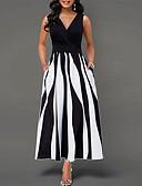 hesapli Maksi Elbiseler-Kadın's Temel Kılıf Elbise - Zıt Renkli Midi