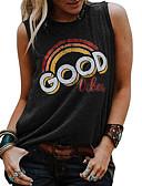 billige T-skjorter til damer-Singleter Dame - Geometrisk, Trykt mønster Gatemote / Punk & Gotisk Ut på byen Svart